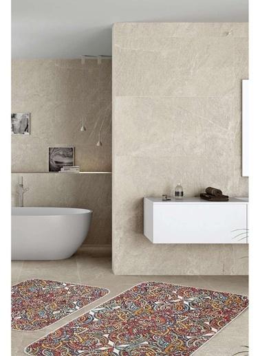 Hamur Mandala 2 'li Set Banyo Paspası Kaymaz Taban Banyo Halısı Renkli